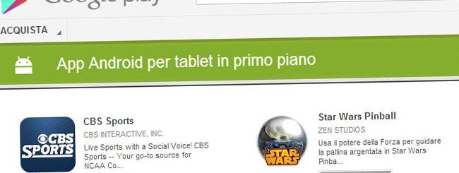 Google Play, app per tablet