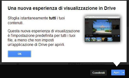Un popup mostra la nuova modalità di visualizzazione dei contenuti integrata in Google Drive