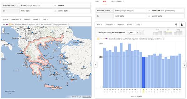 L'interfaccia di Google Flight Search: il servizio per la ricerca dei voli debutta oggi anche in Italia