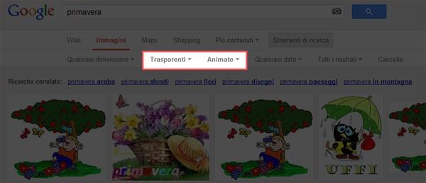 I nuovi filtri per la ricerca di Google, utili per trovare immagini trasparenti e animate