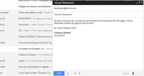 La nuova modalità per la composizione dei messaggi in Gmail, da oggi disponibile per tutti