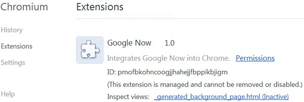 Google Now compare tra le impostazioni chrome://flags di Chromium