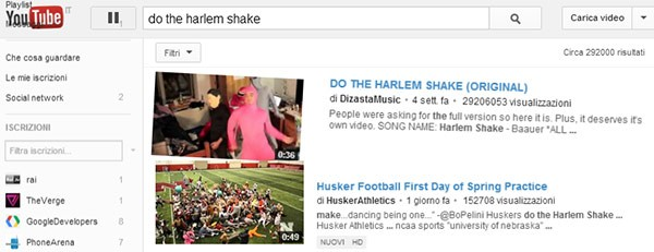 "Un easter egg per YouTube: basta cercare ""Do the Harlem Shake"" e il portale di video sharing prende vita"