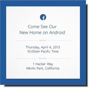 Invito alla presentazione di Facebook Home su Android