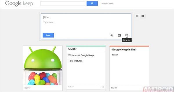 Uno screenshot per l'interfaccia di Google Keep (Android Police)
