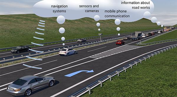 Un'illustrazione realizzata da Mercedes-Benz per spiegare le nuove funzioni del Comand ONLINE