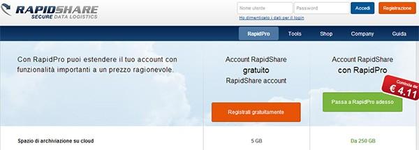 Rapidshare cambia i termini di servizio: da domani niente più upload illimitato per gli iscritti alla formula RapidPro