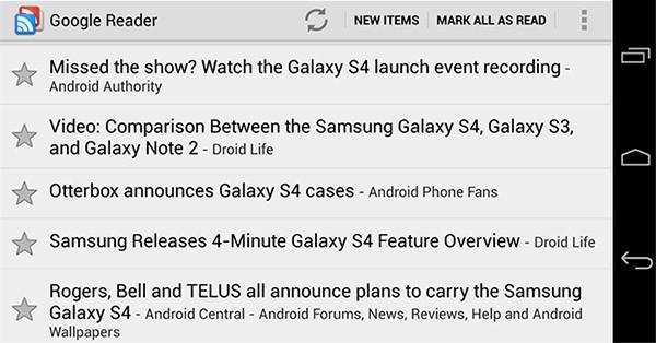Uno screenshot per l'applicazione ufficiale di Google Reader sui dispositivi Android