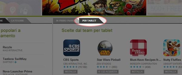 """Introdotta su Google Play la sezione """"App Android per tablet in primo piano"""""""