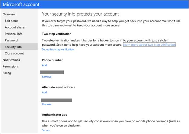 La sezione dell'account Microsoft dove attivare l'autenticazione in due passaggi.