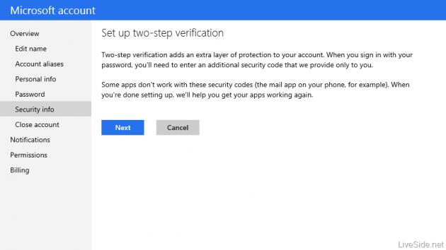 Autenticazione a due fattori Microsoft account