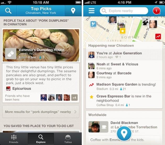 Confronto tra le vecchia (a sinistra) e la nuova (a destra) interfaccia di Foursquare per iOS.