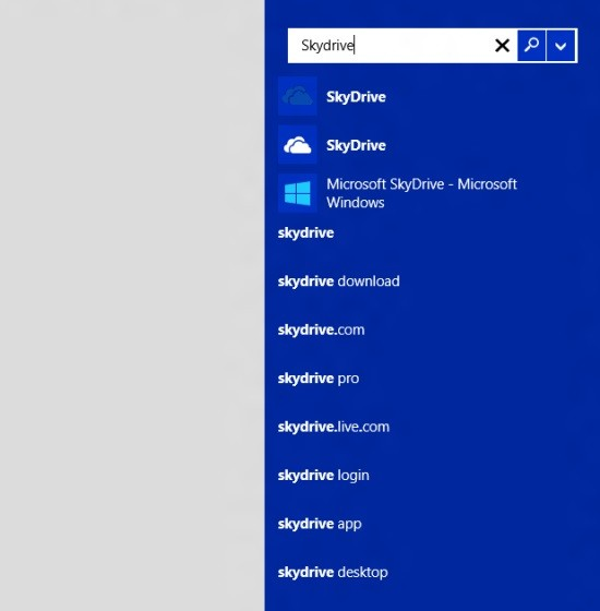 La funzione di ricerca integrata in Windows 8.1 mostra anche i risultati web.