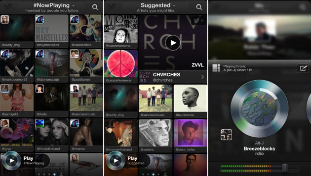 L'app Twitter #music per iPhone.