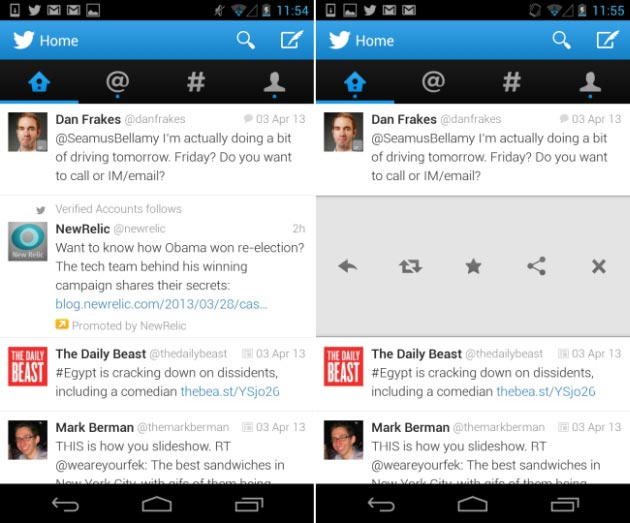 La nuova interfaccia dell'app Twitter per Android.