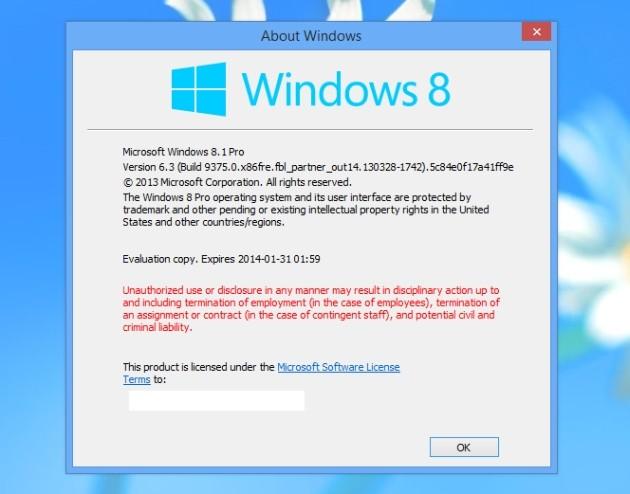 Screenshot di Windows 8.1 Pro dal quale si evince la versione del sistema operativo.
