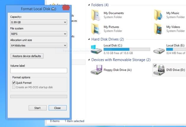 Windows 8.1 supporta il file system ReFS per le unità di archiviazione.