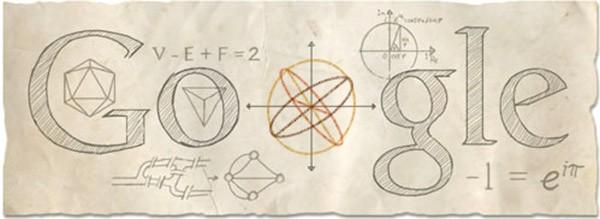 Il Google doodle che oggi celebra Eulero sulla homepage del motore di ricerca