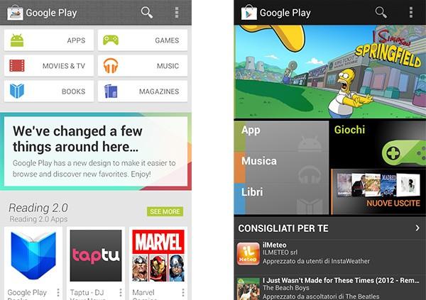 L'immagine leaked per il restyling di Google Play su Android (a sinistra) e la versione attuale (a destra)