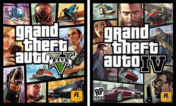 La copertina di GTA 5 (a sinistra) riprenderà lo stile di quella del predecessore GTA 4 (a destra)