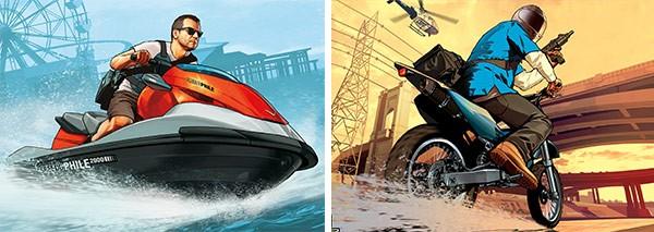 I due artwork rilasciati da Rockstar Games per Michael e Franklin, personaggi di GTA 5