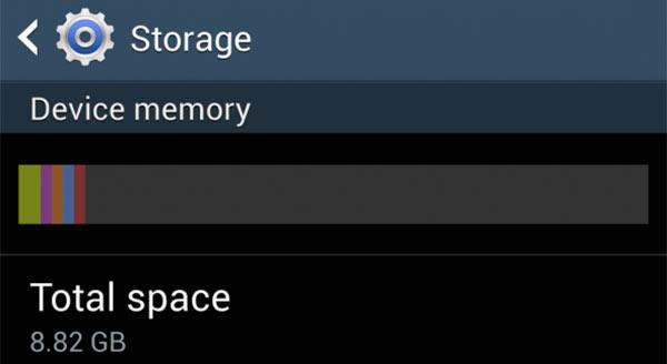 Uno screenshot che dimostra come la versione da 16 GB del Samsung Galaxy S4 offra solo 8,82 GB di spazio libero all'utente