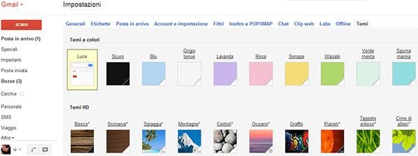 Alcuni dei temi messi a disposizione da Google per la personalizzazione di Gmail