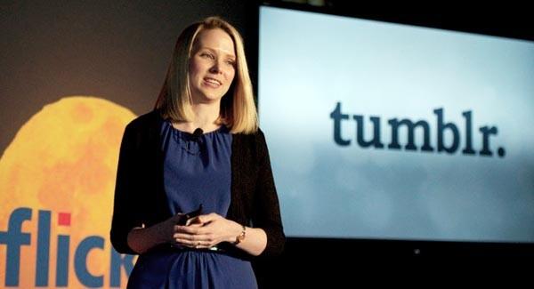 Marissa Mayer,  a capo di Yahoo!, alla conferenza di New York. La compagnia ora possiede sia Flickr che Tumblr.