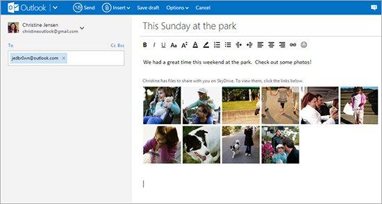 Outlook.com consente di inserire le foto di SkyDrive nel messaggio di posta.