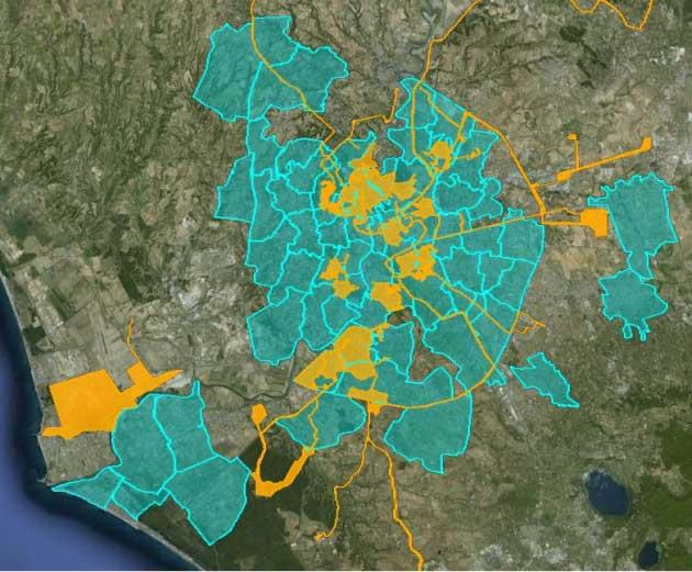 In giallo le aree già raggiunte in FTTH. In celeste le nuove aree che verranno raggiunte con tecnologia FTTS entro il 2014.