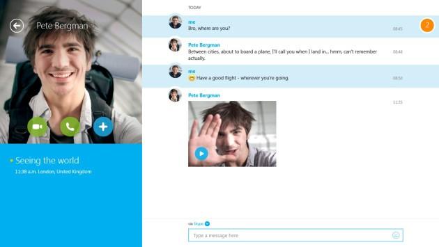 La funzione Video Messaggi in Skype 1.7 per Windows 8.