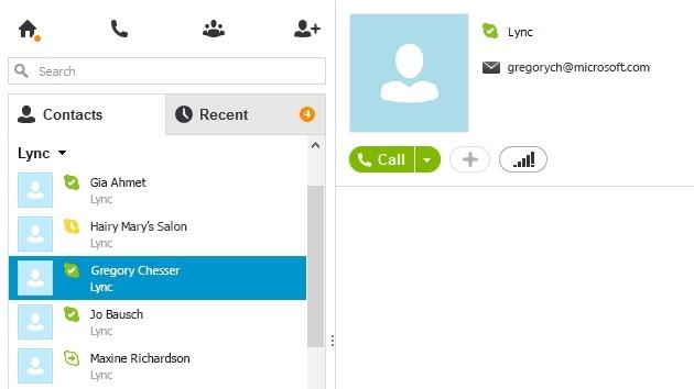 I contatti di Lync possono essere uniti ai contatti di Skype.