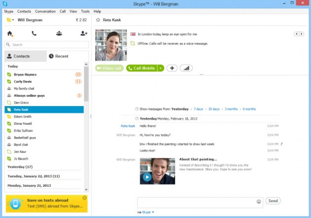 Un clip video inserito all'interno di un messaggio Skype.