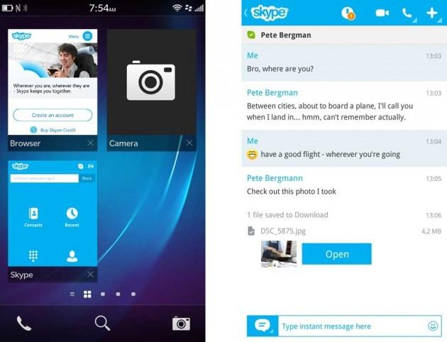 L'interfaccia utente dell'app Skype per BlackBerry 10.1