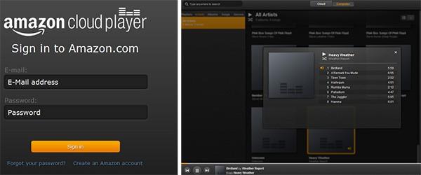 La schermata di login di Amazon Cloud Player per PC (a sinistra) e l'interfaccia del software (a destra)