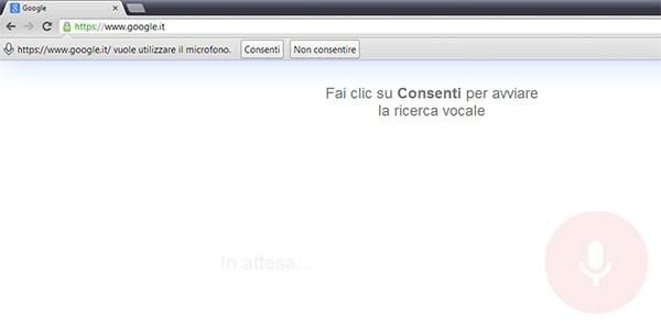 Chrome 27: la schermata di autorizzazione per l'utilizzo del microfono
