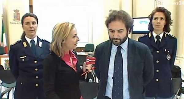 Ivano Gabrielli, del CNAIPIC, ala conferenza stampa al Viminale sugli arresti dell'operazione Tango Down.
