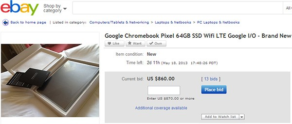 Alcuni dei Chromebook Pixel regalati agli sviluppatori presenti al Google I/O 2013 sono già in vendita su eBay