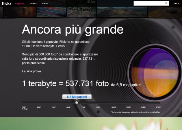 La nuova homepage di Flickr
