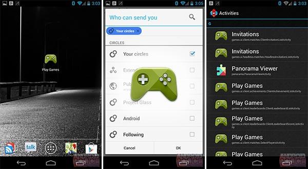 Alcuni screenshot per Google Play Games, insieme all'icona della piattaforma