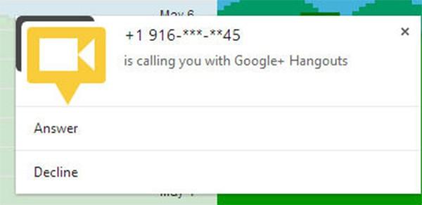 Uno screenshot per le notifiche di Google Hangouts
