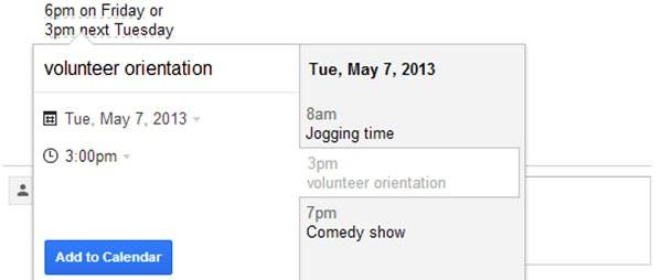 La schermata che permette di inserire appuntamenti nel calendario direttamente dalla casella di posta Gmail