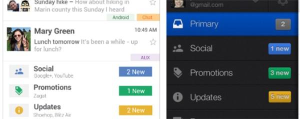 L'organizzazione della posta in arrivo nella nuova interfaccia di Gmail