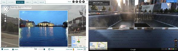 New York dopo il passaggio dell'uragano Sandy (sinistra) e il 9/11 Memorial (destra)