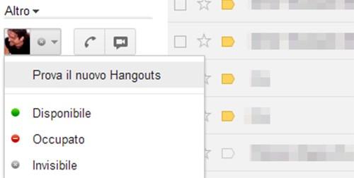 L'opzione di Gmail che consiglia il passaggio a Google Hangouts