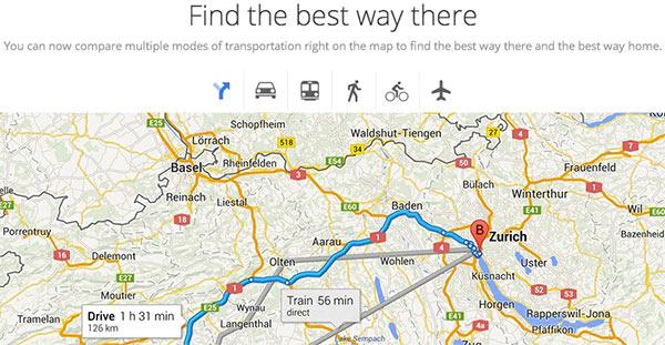 La nuova versione di Google Maps consentirà di mettere a confronto i tempi di percorrenza di mezzi differenti