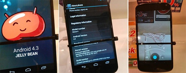 Android 4.3 Jelly Bean avvistato su un Nexus 4 al  Thailand Mobile Expo
