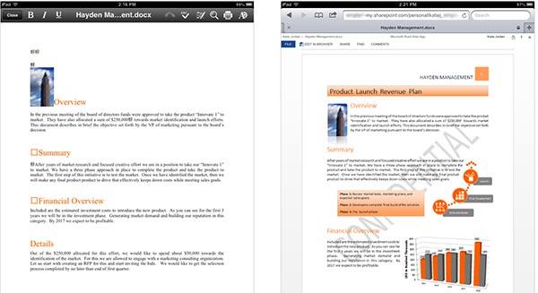 Un documento aperto con Google Quickoffice su iPad (a sinistra) e con Microsoft Word Web App sempre su iPad (a destra)