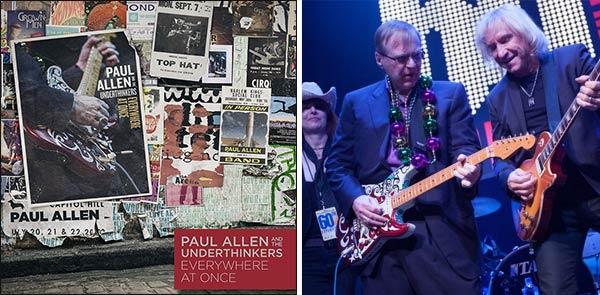 """La copertina di """"Everywhere at Once"""" (a sinistra) e Paul Allen sul palco con Joe Walsh (a destra)"""