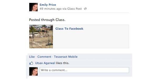 Come appare un post su Facebook tramite l'applicazione per Google Glass. (da Mashable)